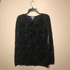Long Sleeve Black and Blue Floral Sweater